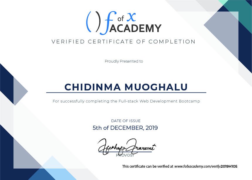 Certificate of Completion for Chidinma Muoghalu, a member of Cohort Hydrogen, the Developer Bootcamp  held at fofx Academy, Gbagada-Lagos Training Center.