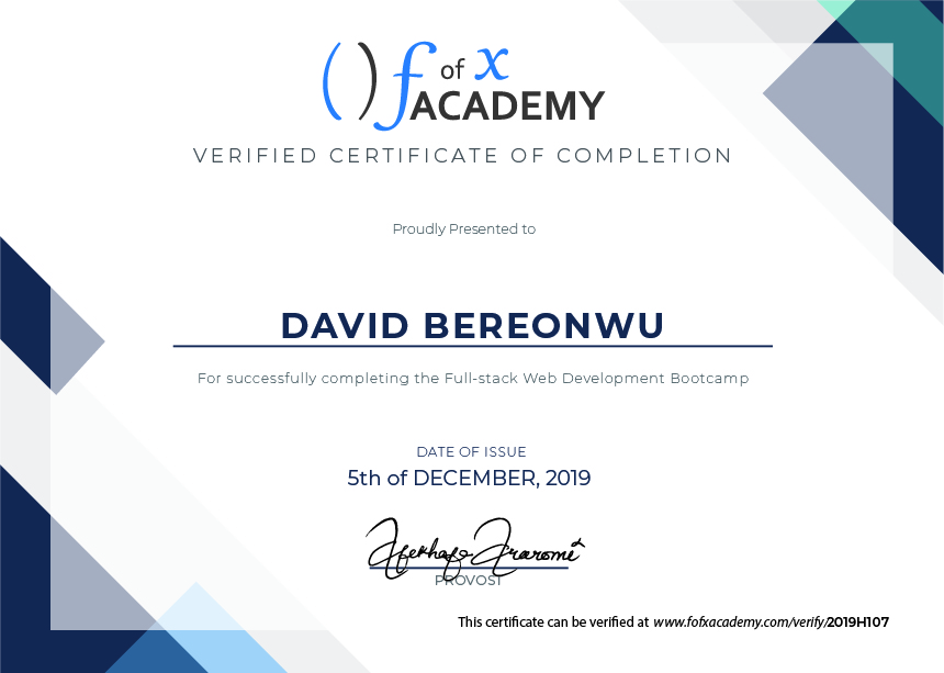 Certificate of Completion for David Bereonwu, a member of Cohort Hydrogen, the Developer Bootcamp  held at fofx Academy, Gbagada-Lagos Training Center.