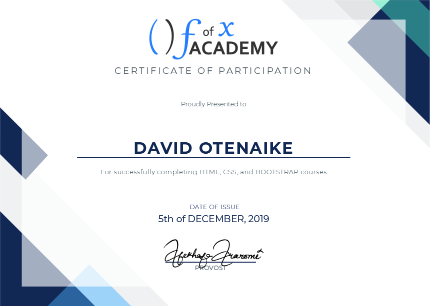 Certificate of Participation for David Otenaike, a member of Cohort Hydrogen, the Developer Bootcamp  held at fofx Academy, Gbagada-Lagos Training Center.